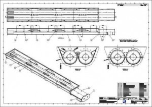 CAD drawing of a conveyor casing assembly