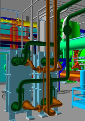 CAD model of coolers and pipework