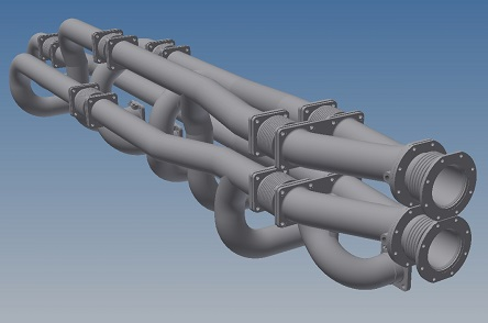 3D CAD model of modified exhaust manifold for 8 cylinder inline engine