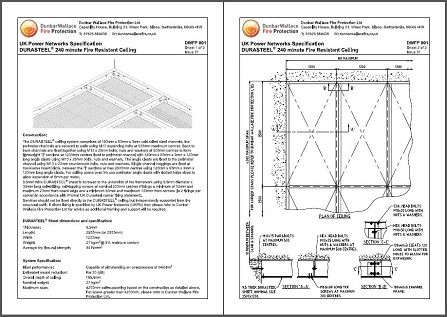 Data sheet for fire resistant ceiling